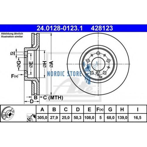 ATE első féktárcsa 24.0128-0123.1