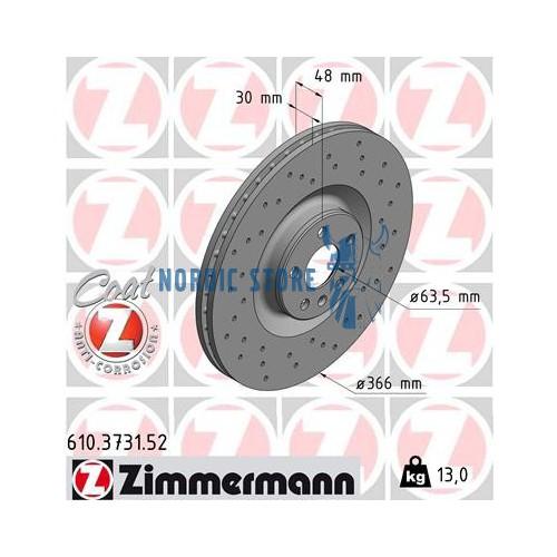 Volvo alkatrészek, Zimmermann Sport 610.3731.52 első féktárcsa