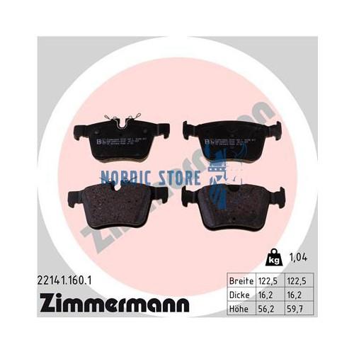 Zimmermann 22141.160.1 hátsó fékbetét, Volvo alkatrészek