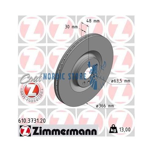 Volvo alkatrészek, Zimmermann 610.3731.20 első féktárcsa